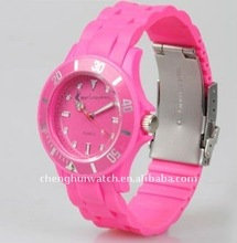 quartz pink silicon wrist watch Hot Items promotional gifts (CH11105A)