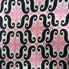 black pink printed silk twill silk fabric