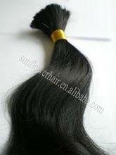 Unprocessed natural straight 100% virgin Chinese human hair bulk extension pure natural color remy hair bulk cheap