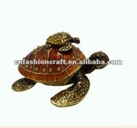 New desin Pewter Alloy Rhinestone Bejewelled Mum & Baby Turtle metal trinket boxes