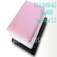 2pcs/Lastest 7 inch Mini Laptop PC Andorid 2.2 256M 2B WIFI Office PDF Netbook PC WM8650
