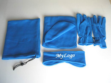 Fleece set of headband,scarf, gloves,bag