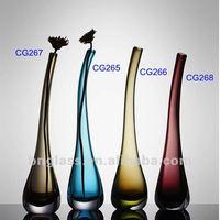 Hand Made Art Glass Long Neck Vase