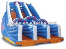 inflatable dolphin double lanes slip slide