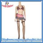 Pink Sexy Stripe Lingerie Women Garter Bra and Panties