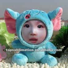 17CM Bule Elephant 3D Face Doll