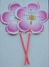 Flower Shape PP Fan with chopsticks handle