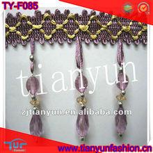 Beautiful Polyester beaded purple tassel fringe for curtain