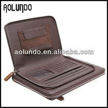 Fashionable design genuine leather portfolio folder with ipad case