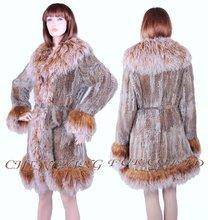 Cx-g-a-119 coniglio donne cappotto di pelliccia lavorato a maglia con tibetano pecora pelliccia