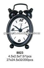 2015 Black Metal Bell Double Small Alarm Clock (8823)