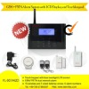 Rechargeable battery powered GSM/PSTN alarm system with LCD display and touchkeypad