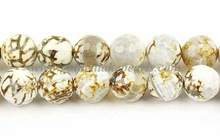 SL35872 Fire Agate Gemstone Faceted Round Beads