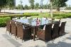 GH-DS-64,Wicker Garden Patio Chair & Table,Poly Rattan Dinning Set,Resin Wicker All Weather Furniture,12-seat Wicker Garden Set