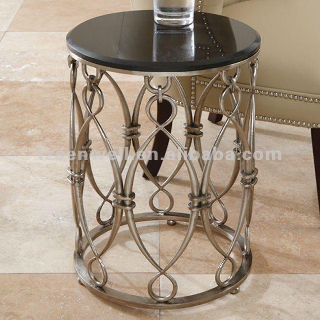 Standing ferro laço mesa de café