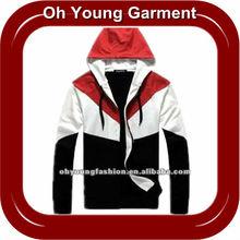 custom fashional split & patchwork long sleeve sweatshirt hoodies for men