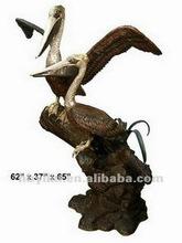 Two Pelicans Bird at Rest Bronze Garden Water Fountain