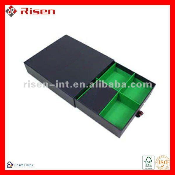 rigid paper sliding drawer box with divider