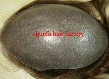 stock skin base men's toupee, v-loop thin skin toupee