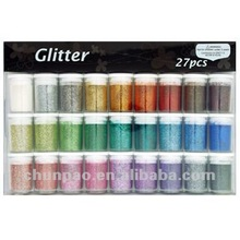Non-toxic 27 colors Plastic Glitter Powder Kit for Crafts Nail Art Body Art