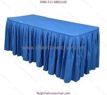 Plain polyester table skirting-royal blue