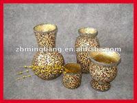 tempered animal print glass mosaic vases