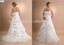 High quality tulle and taffeta pleat ruffle backless wedding dress