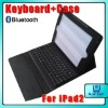 Bluetooth keyboard Leather Case for iPad2, for new iPad