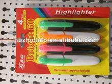 Flat Highlighter marker pen, best sellers, 4 PCS / blister card packing