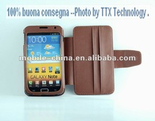 Protective fold stand Leather Case for i9220, leather flip case with Card slot for I9220