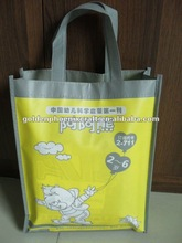 Foldable PP Laminated Yellow Non Woven Tote Bag