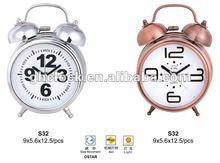 2013 New Design Bronze color Metal Bell Double Table Clock...(S32)