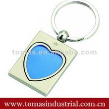 2012 fashion design heart shape metal blue key chains