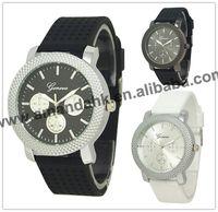 Men Geneva Silver Case Silicone Watch Fashion Rubber Quartz Watch Charming Black Color Watch 100pcs/lot 3 Colors