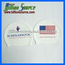 2014 USA national flag white silicone swim caps