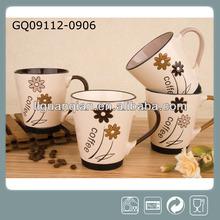 brown stoneware mug handpainted