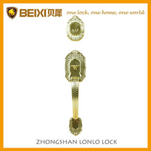 Hot selling luxury zinc alloy satin brass finish big handle outdoor gate lock