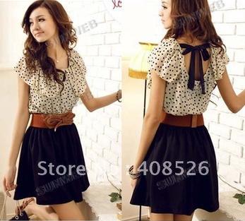 Japan Korean Women Summer New Fashion Chiffon Short-sleeve Dots Polka Waist Mini Dress 2792