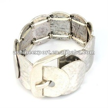 2012 most popular belt design anti silver alloy bracelet with free size