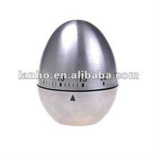 Silver Stainless Steel Egg Shape Kitchen Timer Alarm 60 Minute Long Ring