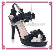 Flower design women shoes black high heel sandals
