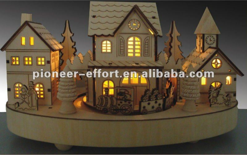 Christmas decorations wooden house led light view - Petite maison de noel decoration ...