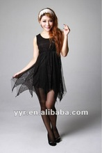 2012 latest summer lady sleeveless o-neck lace short dress