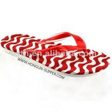 2012 fashion Colorful wave texture EVA beach flip flop