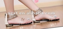 fashion flat sole lady sandals golden PU upper new designs flat sandals