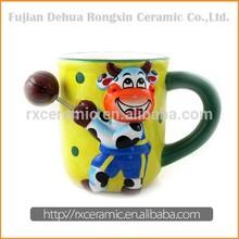 Animal Cartoon Play Basketball Ceramic Cow Mug