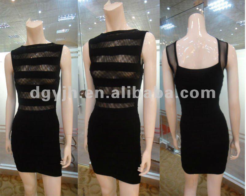 preto sexy da mulher vestido transparente w010