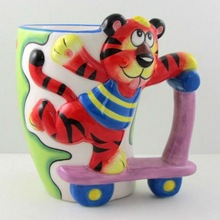 3D Hand-painted Ceramic Animal Sports Mug-tiger