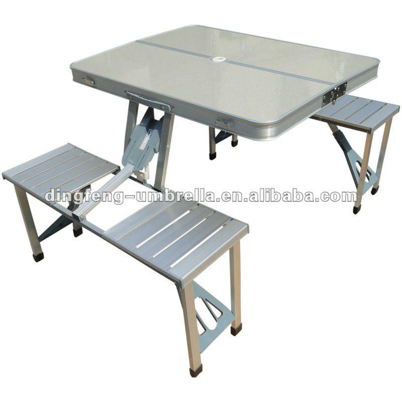 M tal en plein air de pique nique table pliante avec for Table pliante avec banc