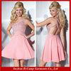 OD-180 Elegant one shoulder knee length short chiffon cocktail dress pink